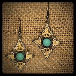 Gorgeous black, gold with turquoise center earring